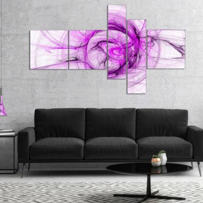 Design Art Wisps Of Smoke Purple Multipanel Abstract Canvas Art Print - 5 Panels