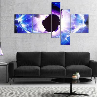 Designart Fractal Blue Light Shine Multipanel Abstract Canvas Art Print - 5 Panels