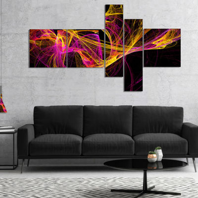 Designart Wisps Of Smoke Yellow In Black Multipanel Abstract Canvas Art Print - 5 Panels