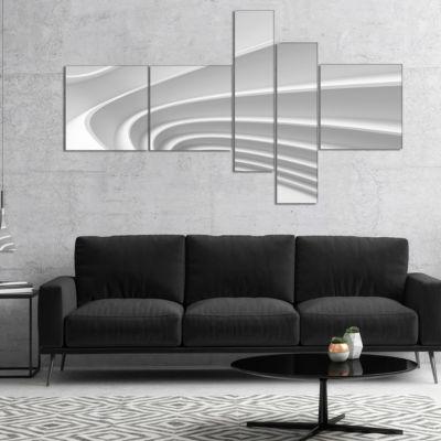 Designart Fractal Bulgy Layered 3D Waves Multipanel Abstract Canvas Art Print - 5 Panels