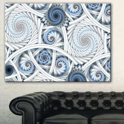 Designart White Spiral With Blue Fractal Art LargeAbstract Art - 3 Panels
