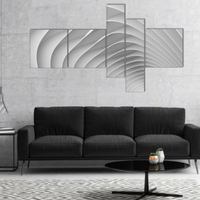 Designart Fractal Bulgy White 3D Waves MultipanelAbstract Canvas Art Print - 4 Panels