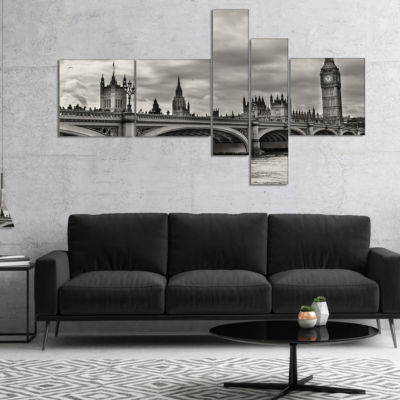 Designart Wonderful View Of Westminster Bridge Multipanel Cityscape Canvas Art Print - 5 Panels