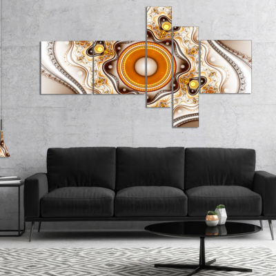 Designart Fractal Circles And Wavy Curves Multipanel Abstract Canvas Art Print - 4 Panels