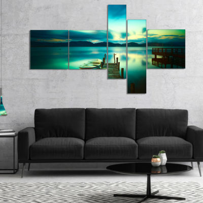 Designart Wooden Jetty And Boat In Sea MultipanelSeascape Canvas Art Print - 5 Panels