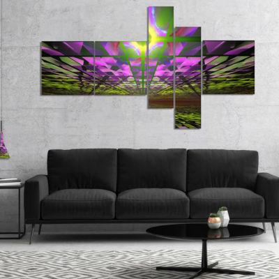 Designart Fractal Cosmic Apocalypse Multipanel Abstract Art On Canvas - 5 Panels