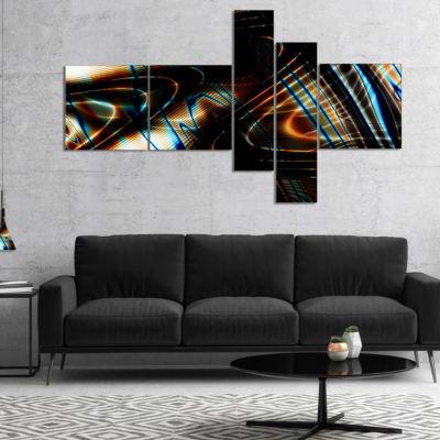 Designart Fractal Curved Brown Black Stripes Multipanel Abstract Canvas Art Print - 4 Panels