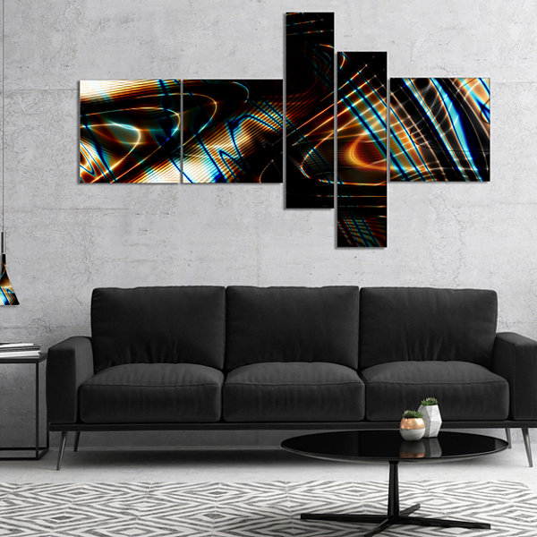 Designart Fractal Curved Brown Black Stripes Multipanel Abstract Canvas Art Print - 5 Panels