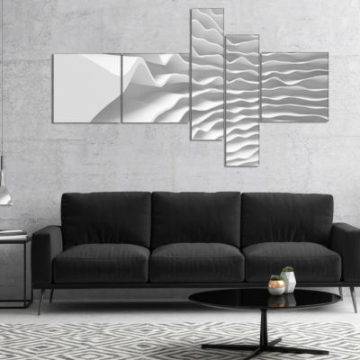 Designart Fractal Curved White 3D Waves MultipanelAbstract Canvas Art Print - 4 Panels