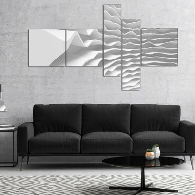 Designart Fractal Curved White 3D Waves MultipanelAbstract Canvas Art Print - 5 Panels