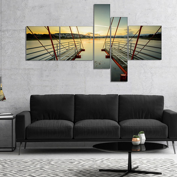 Designart Wooden Piers For Boats In Spain Multipanel Seashore Photo Canvas Print - 4 Panels
