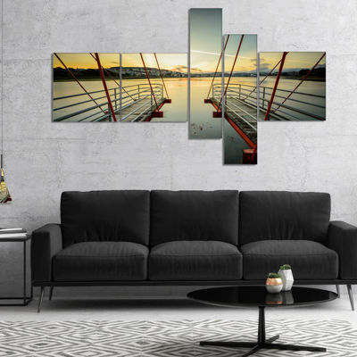 Designart Wooden Piers For Boats In Spain Multipanel Seashore Photo Canvas Print - 5 Panels