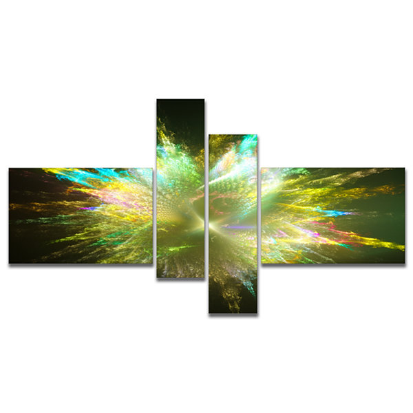 Designart Fractal Explosion Of Paint Drops Multipanel Abstract Canvas Art Print - 4 Panels