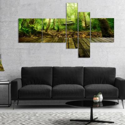 Designart Wooden Platform In Green Forest Multipanel Landscape Photography Canvas Print - 5 Panels