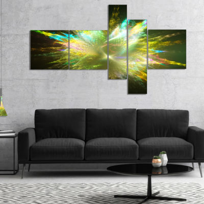 Designart Fractal Explosion Of Paint Drops Multipanel Abstract Canvas Art Print - 5 Panels