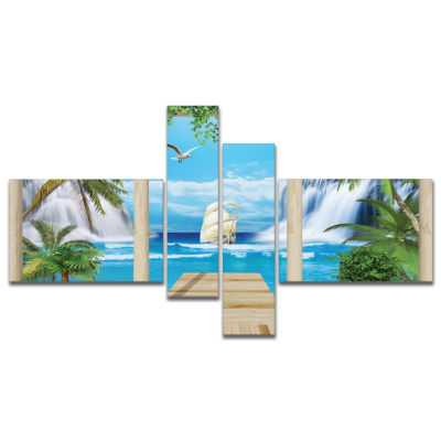Designart Wooden Terrace With Sea View MultipanelLandscape Photography Canvas Print - 4 Panels