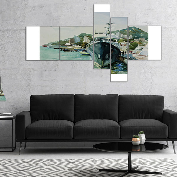 Designart Yacht In Port Yalta Multipanel LandscapeArt Print Canvas - 5 Panels