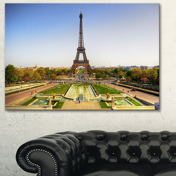 Designart Wide View Of Paris Eiffel Tower Landscape Photography Canvas Print - 3 Panels