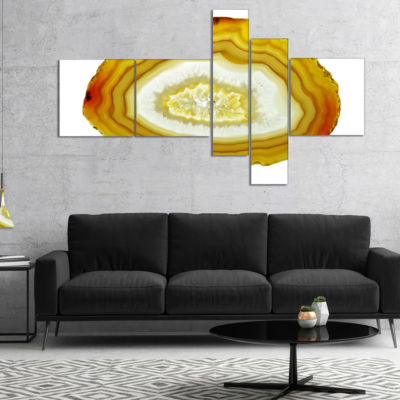Designart Yellow Agate With Geological Crystal Multipanel Abstract Canvas Artwork - 5 Panels