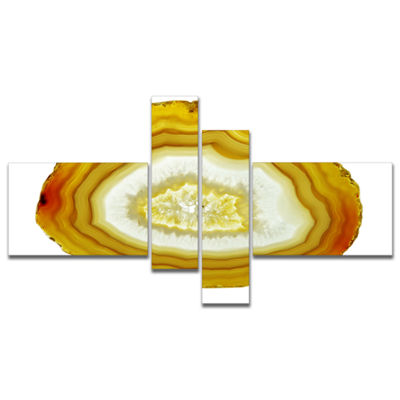 Designart Yellow Agate With Geological Crystal Multipanel Large Abstract Canvas Artwork - 4 Panels