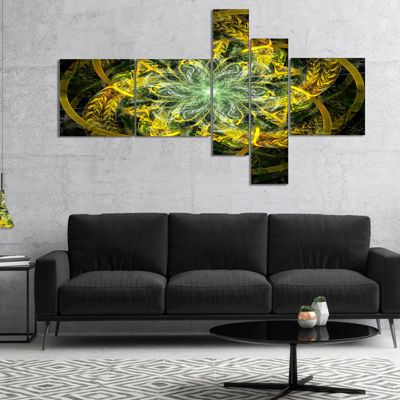Designart Yellow And Green Fractal Flower Multipanel Abstract Canvas Art Print - 5 Panels