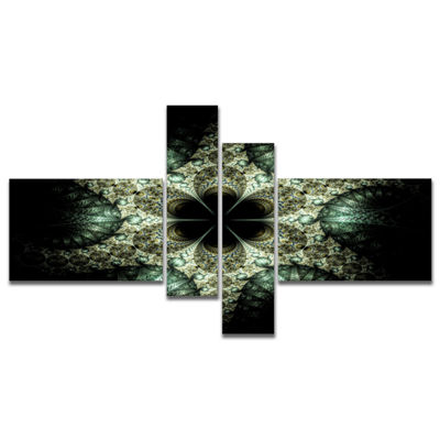 Designart Yellow And Green Fractal Flower Multipanel Abstract Wall Art Canvas - 4 Panels