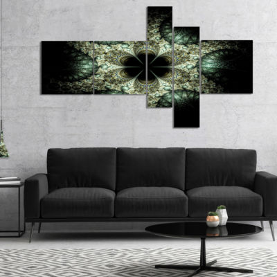 Designart Yellow And Green Fractal Flower Multipanel Abstract Wall Art Canvas - 5 Panels