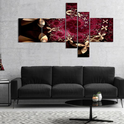 Designart Yellow And Red Fractal Flower Pattern Multipanel Abstract Wall Art Canvas - 4 Panels