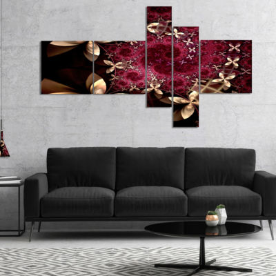 Design Art Yellow And Red Fractal Flower Pattern Multipanel Abstract Wall Art Canvas - 5 Panels