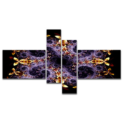 Designart Yellow And Violet Fractal Flower Multipanel Abstract Wall Art Canvas - 4 Panels