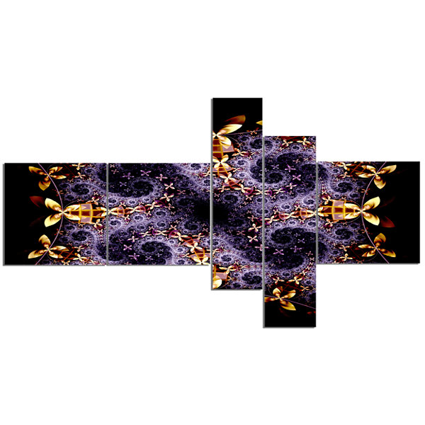 Designart Yellow And Violet Fractal Flower Multipanel Abstract Wall Art Canvas - 5 Panels