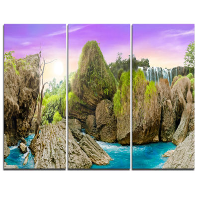 Designart Wild Forest And Waterfall Vietnam Landscape Art Print Canvas - 3 Panels