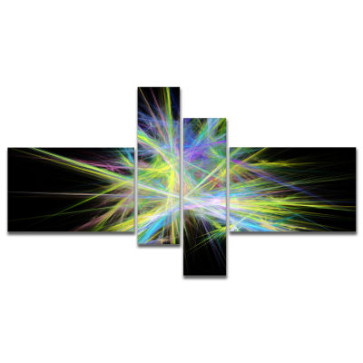 Designart Yellow Blue Chaos Multicolored Rays Multipanel Abstract Canvas Wall Art - 4 Panels
