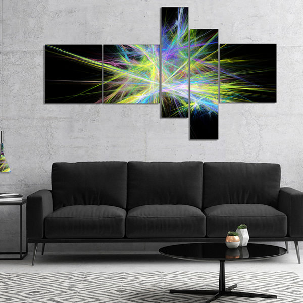 Designart Yellow Blue Chaos Multicolored Rays Multipanel Abstract Canvas Wall Art - 5 Panels