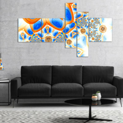 Design Art Yellow Blue Exotic Pattern Multipanel Abstract Wall Art Canvas - 5 Panels
