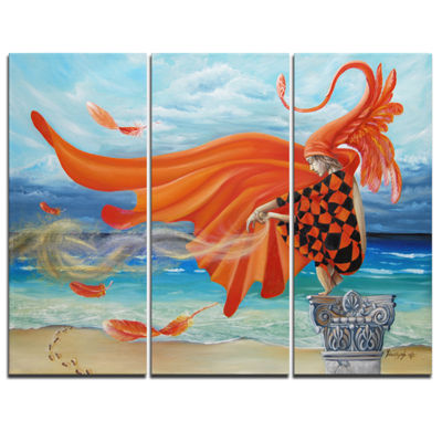 Designart Wind Blows All Abstract Canvas Art Print- 3 Panels