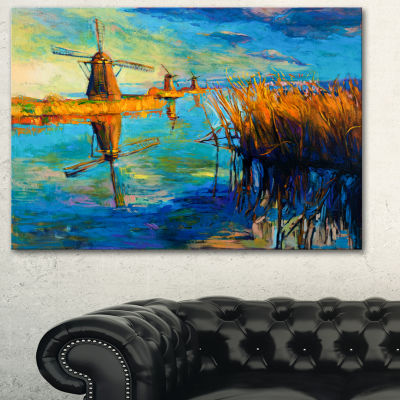 Designart Windmills With Sky And Water LandscapeArt Print Canvas