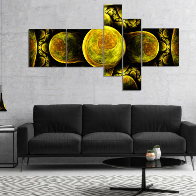 Designart Yellow Exotic Fractal Pattern MultipanelAbstract Art On Canvas - 4 Panels
