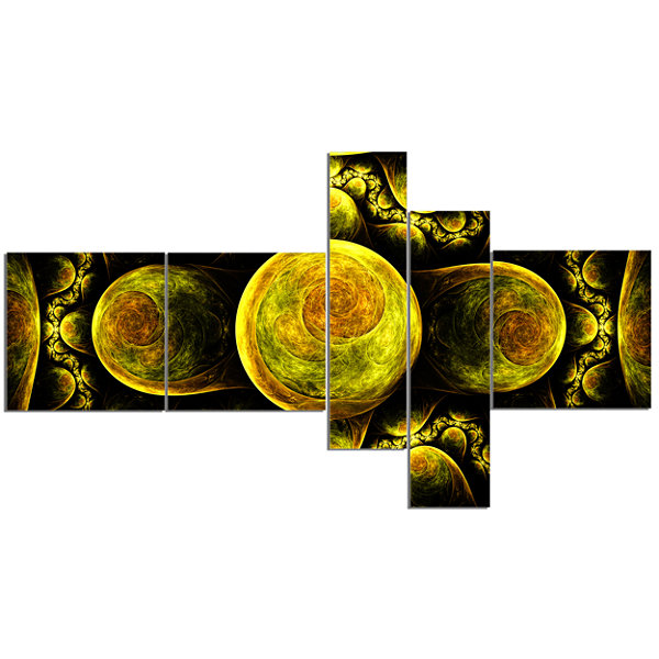 Designart Yellow Exotic Fractal Pattern MultipanelAbstract Art On Canvas - 5 Panels