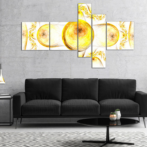 Designart Yellow Exotic Pattern On White Multipanel Abstract Art On Canvas - 4 Panels