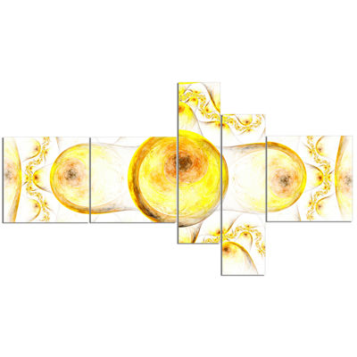 Designart Yellow Exotic Pattern On White Multipanel Abstract Art On Canvas - 5 Panels