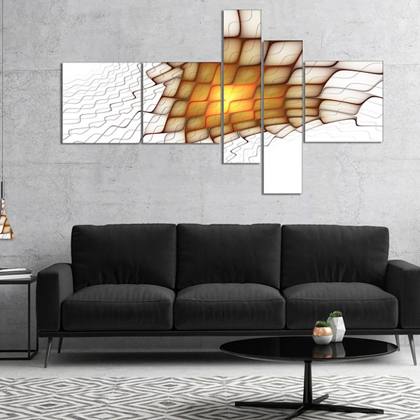 Designart Yellow Flames On White Blocks MultipanelAbstract Art On Canvas - 5 Panels
