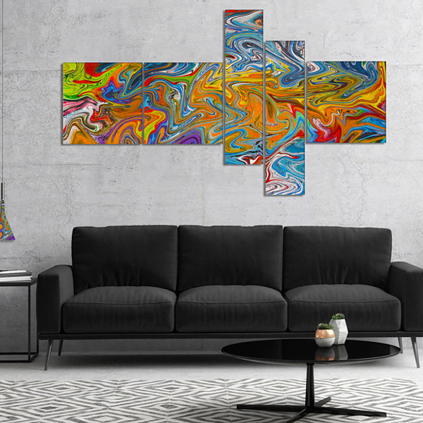 Designart Fractal Flowing Colors Multipanel Abstract Canvas Art Print - 4 Panels