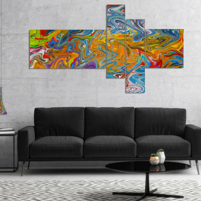 Designart Fractal Flowing Colors Multipanel Abstract Canvas Art Print - 5 Panels