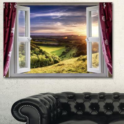 Designart Window View Landscape Canvas Art Print-3Panels