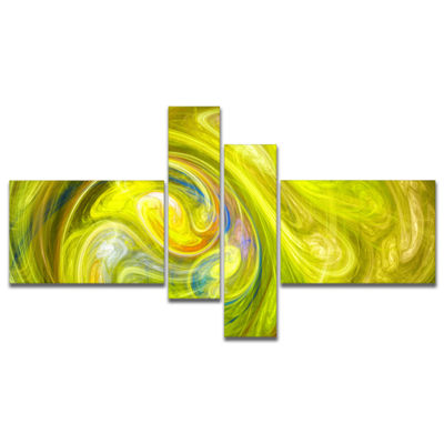 Designart Yellow Fractal Abstract Illustration Multipanel Abstract Canvas Wall Art - 4 Panels