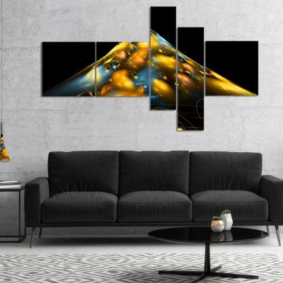 Designart Fractal Golden Blue Structure MultipanelAbstract Canvas Art Print - 5 Panels