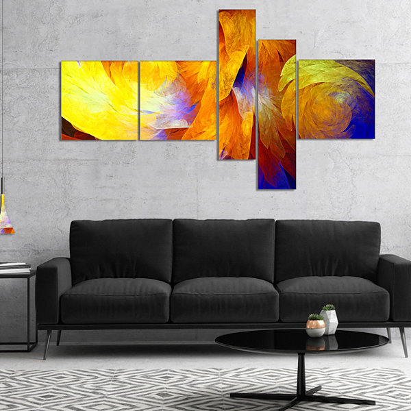 Designart Yellow Fractal Abstract Pattern Multipanel Abstract Art On Canvas - 5 Panels