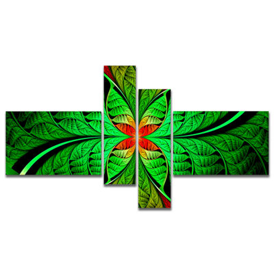 Designart Fractal Green Leaf Design Multipanel Abstract Canvas Art Print - 4 Panels