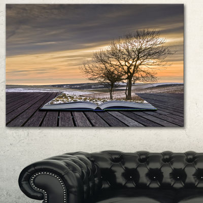 Designart Winter Coming Out Of Pages ContemporaryArt Canvas Print - 3 Panels